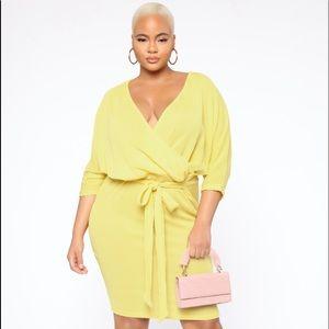 Yellow ribbed dress- NEW